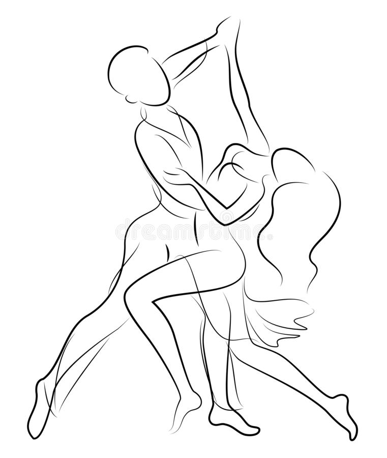 Beautiful young couple. The girl and the guy are dancing. Creative art. Graphic image. Vector illustration royalty free illustration