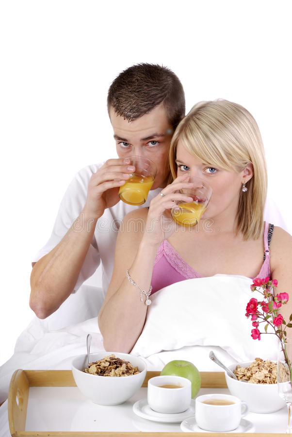 Download Beautiful Young Couple Having Breakfast In Bed Stock Image - Image: 11763969