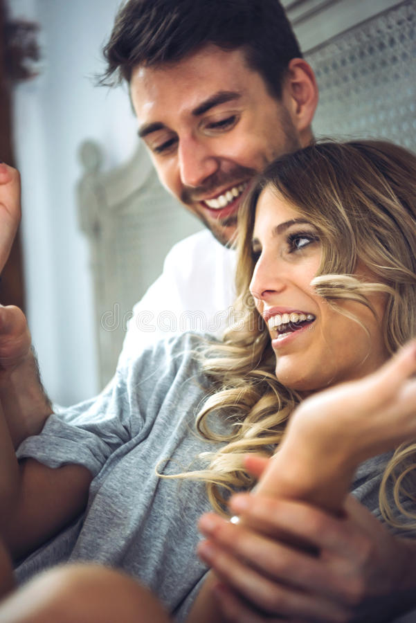 Beautiful young couple having time together stock photos