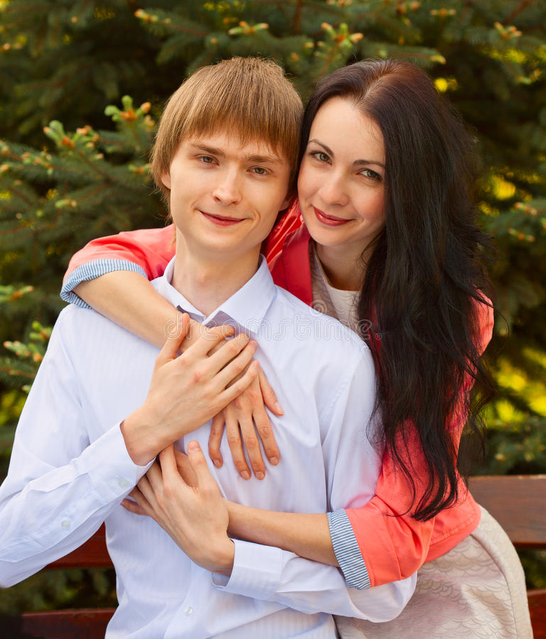 Beautiful young couple in love. Portrait of beautiful young couple in love royalty free stock photo
