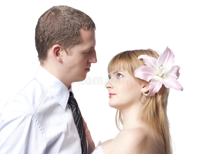 Beautiful young couple, man and woman stock image