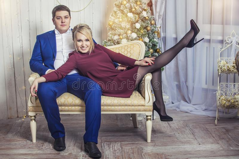 Beautiful young couple man and woman together in the happy Chris royalty free stock photos