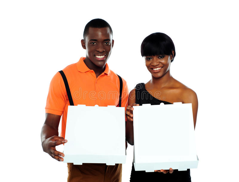 Download Beautiful Young Couple With Pizza Boxes Stock Image - Image: 25231131