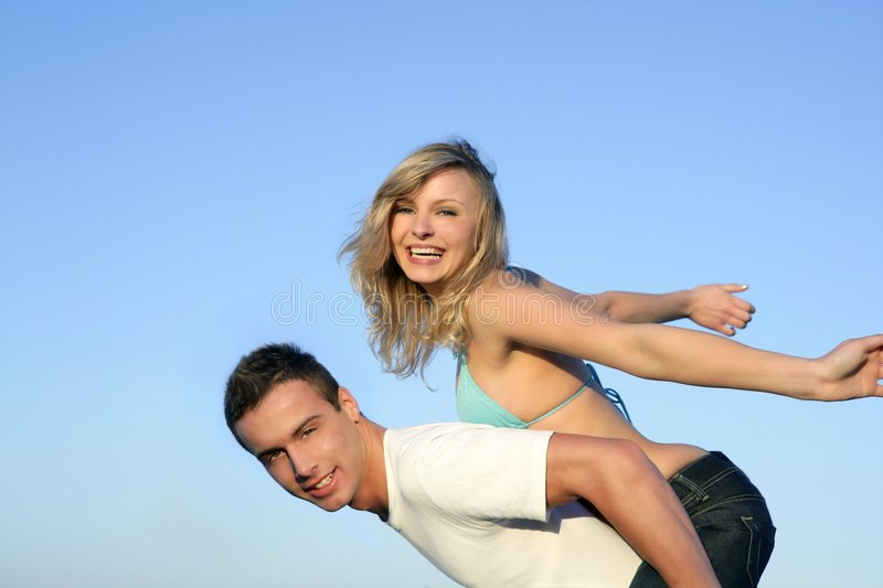 Download Beautiful Young Couple Playing Together Stock Image - Image: 8708823