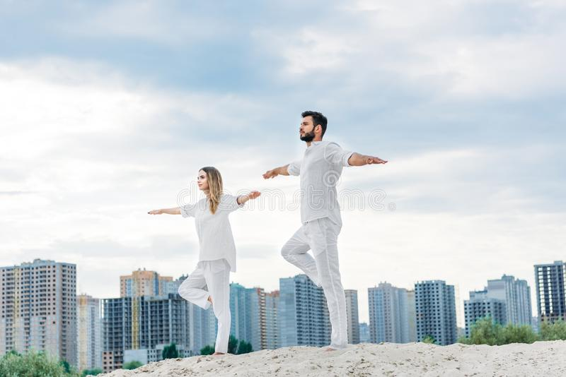 beautiful young couple practicing yoga in tree pose royalty free stock photos