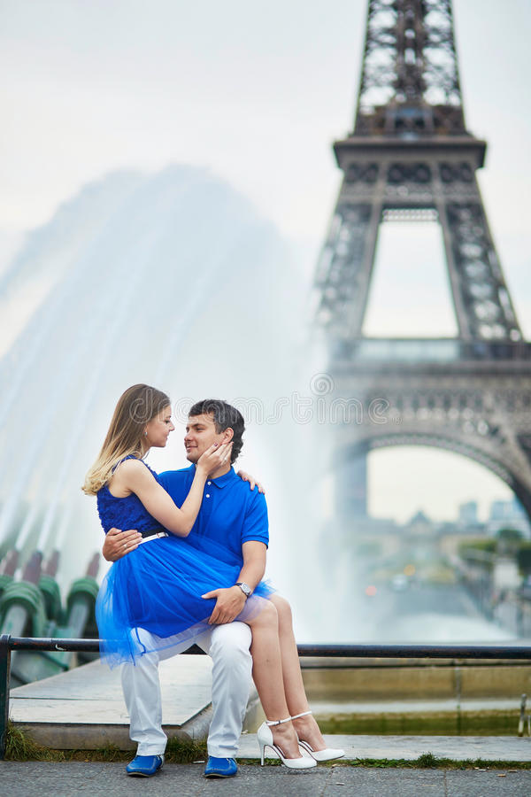 Beautiful young dating couple in Paris stock photo