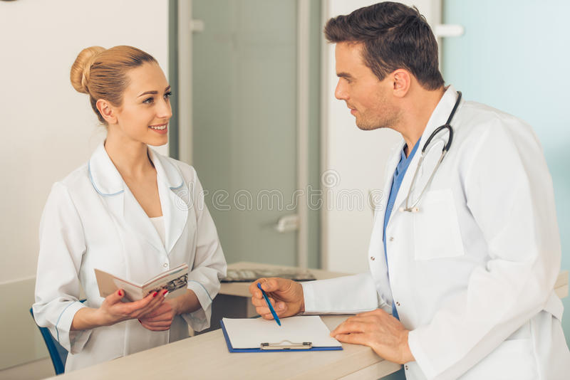Beautiful young doctors royalty free stock photo
