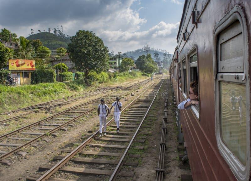 Beautiful young european girl enjoying trip by the train stock images