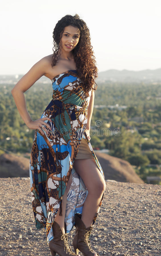 Beautiful Young Exotic Woman With Curly Hair Royalty Free Stock Photos