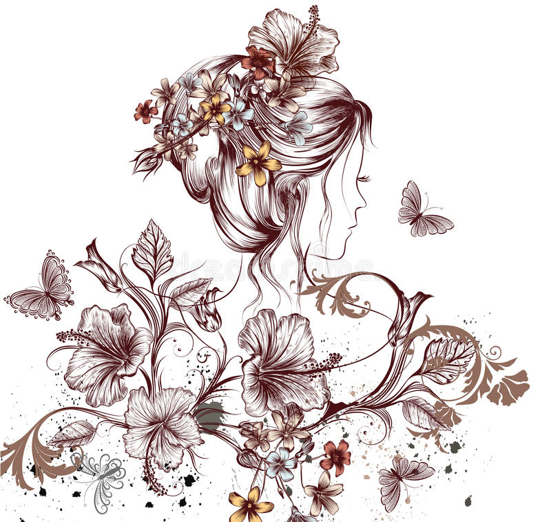Beautiful young fairy woman butterflies and hibiscus flowers sy royalty free illustration