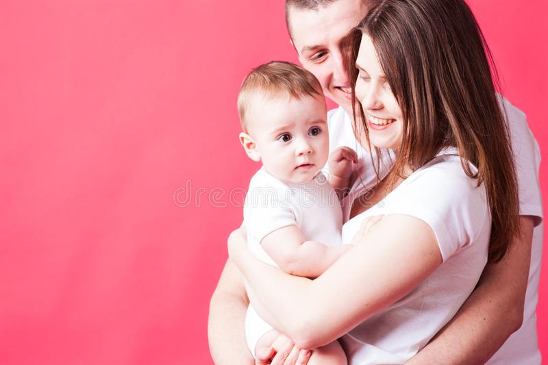 The beautiful young family royalty free stock images