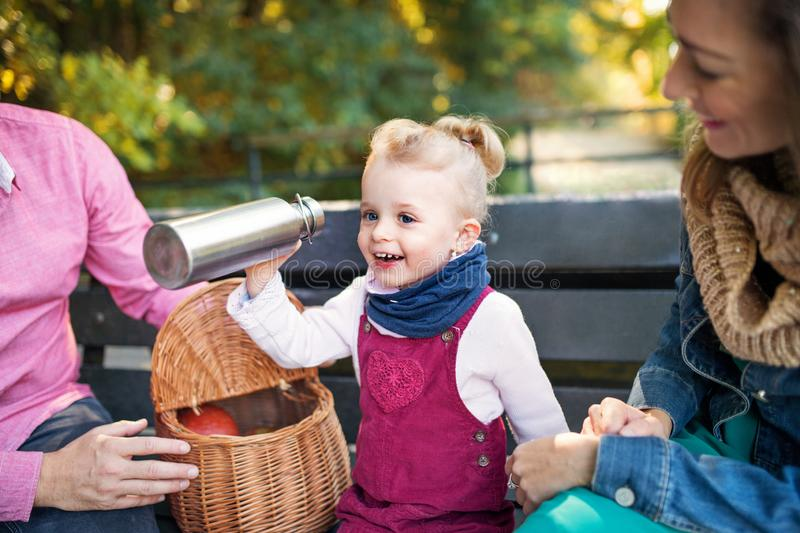 Beautiful young family with small daugther sitting on bench in autumn park. royalty free stock photos