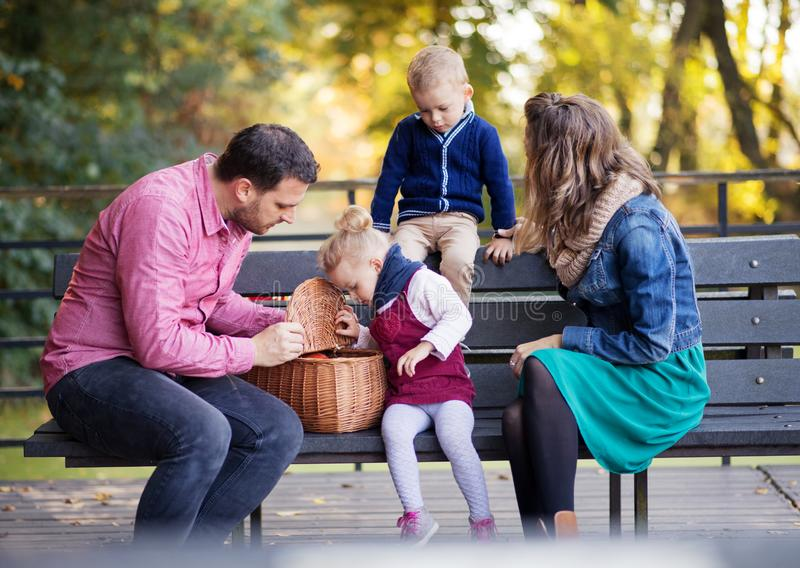 Beautiful young family with small twins sitting on bench in autumn park. stock photography