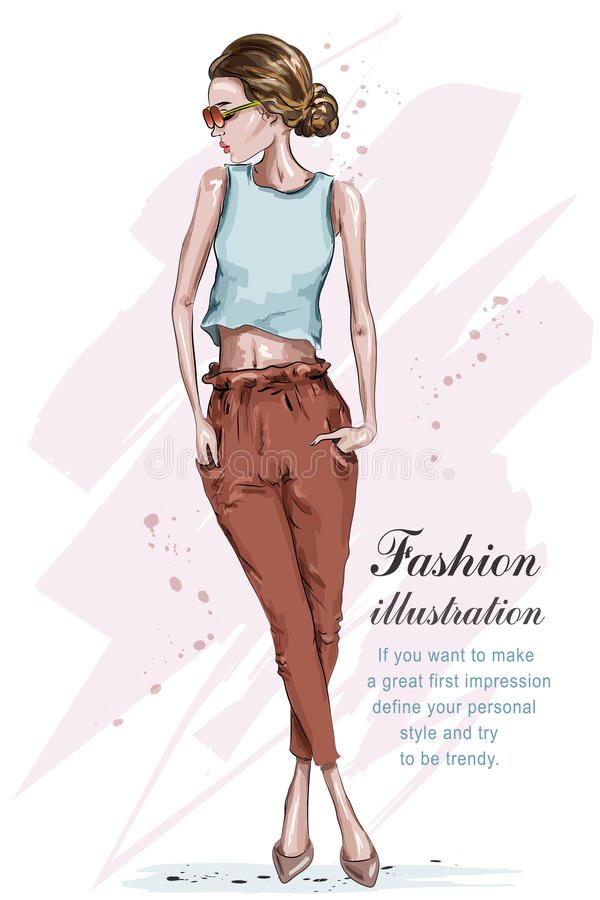 Beautiful young fashion girl. Stylish woman in fashion clothes. Hand drawn girl in sunglasses. Sketch. stock illustration