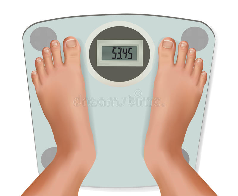 Beautiful young feet on the scale. Concept of diet stock illustration