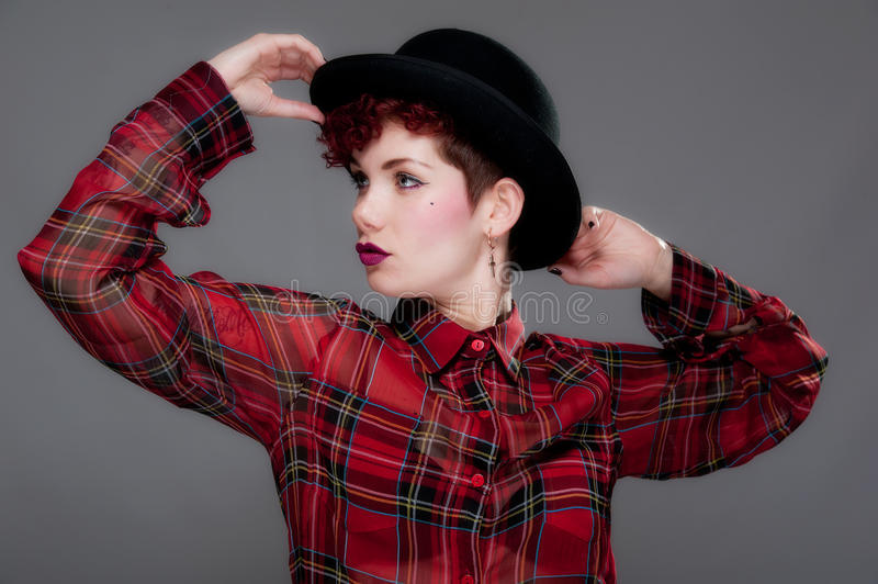 Download Beautiful Young Female In Bowler Hat And Shirt Stock Image - Image: 24593471