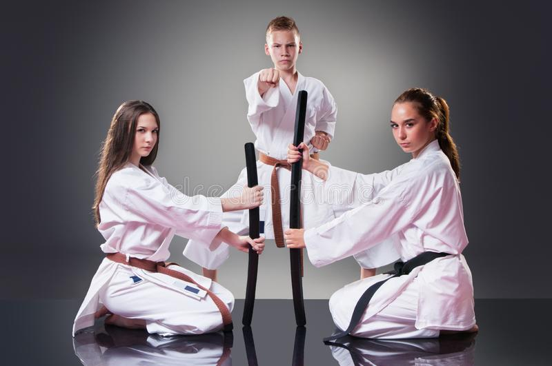 Beautiful young female karate players posing with sword on the gray background. Male fighter in the background stock photo
