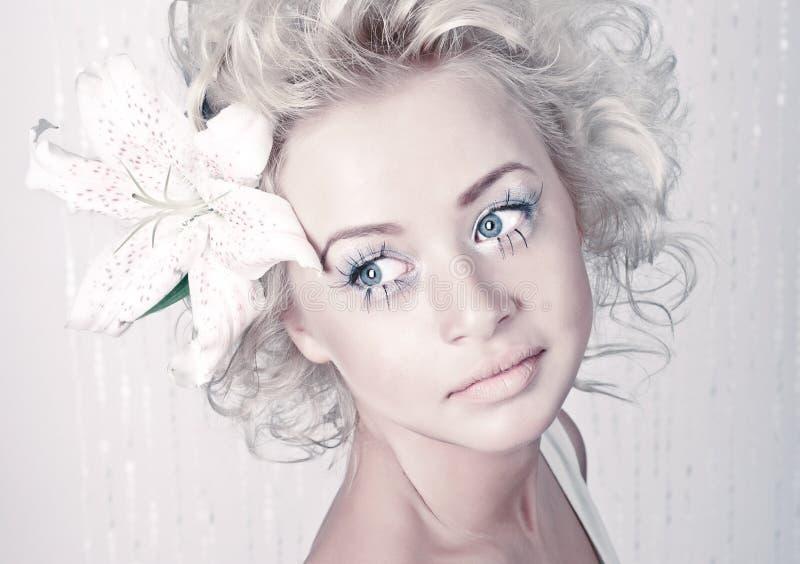Beautiful young female portrait stock photo