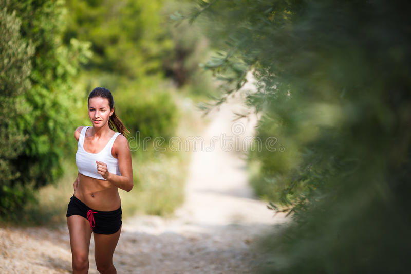 Beautiful young female runner on a forest path stock photography