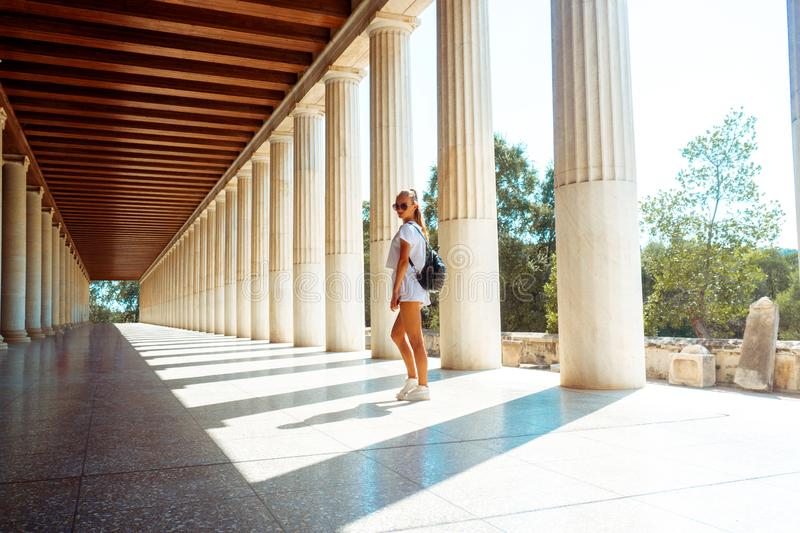 Young girl at the ancient greece royalty free stock image
