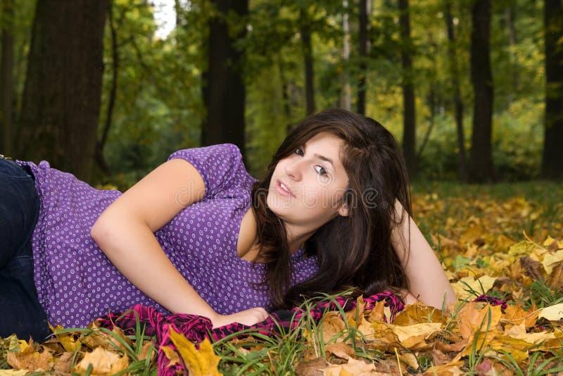 Beautiful young girl in autumn scenery 6. Beautiful young girl and autumn scenery in the park royalty free stock photos