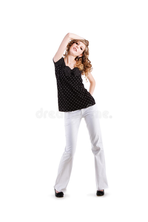Download Beautiful Young Girl In Black Blouse Stock Images - Image: 13302054