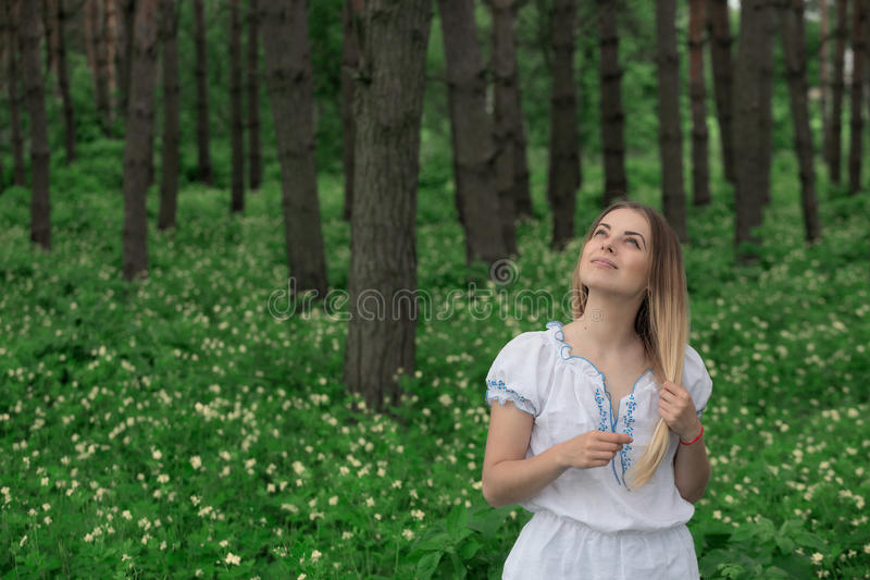 Beautiful young girl close-up in a white shirt, against a background of green forest royalty free stock photography
