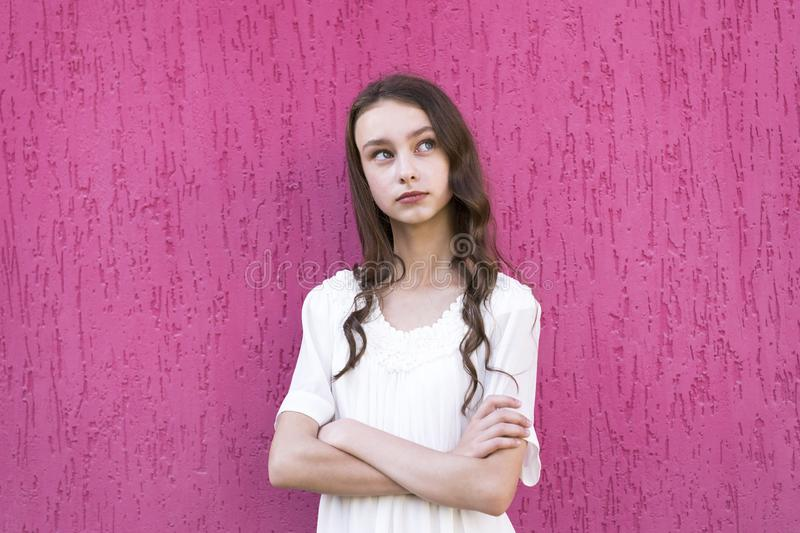 Girl with crossed arms royalty free stock photo