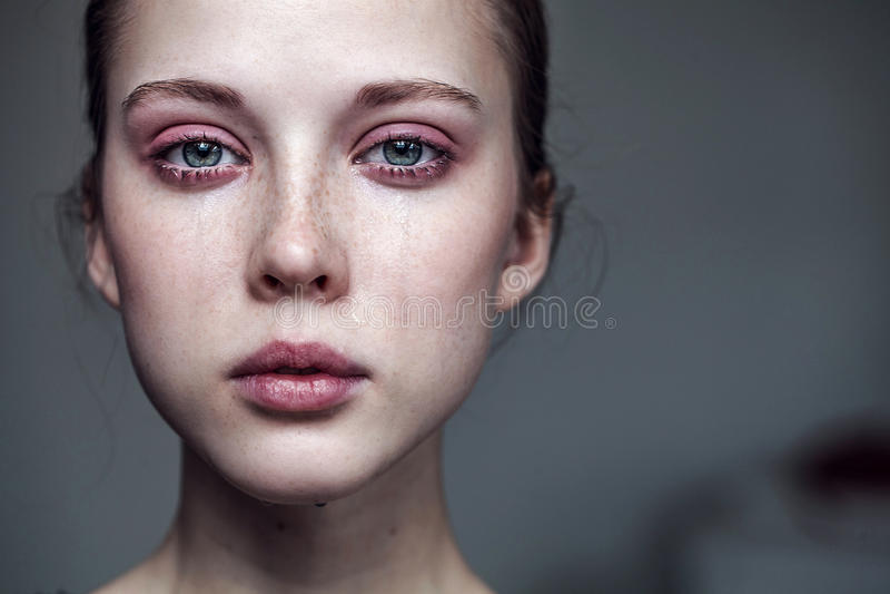 Beautiful young girl crying royalty free stock photos