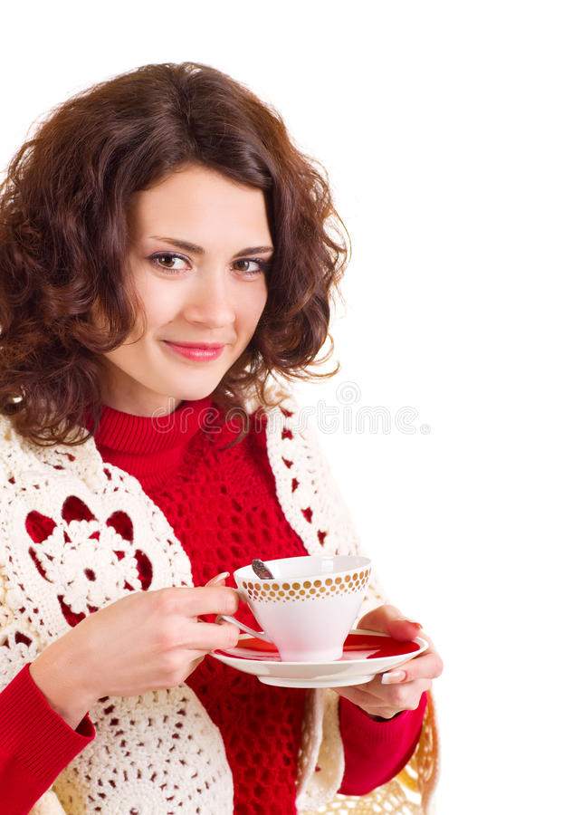 Beautiful young girl with a cup stock image