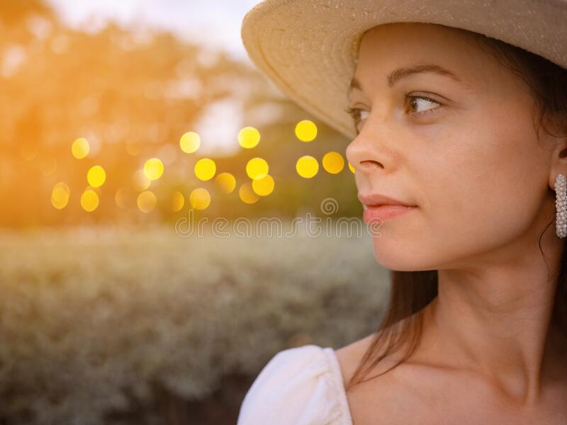 Beautiful young girl in the evening royalty free stock photos
