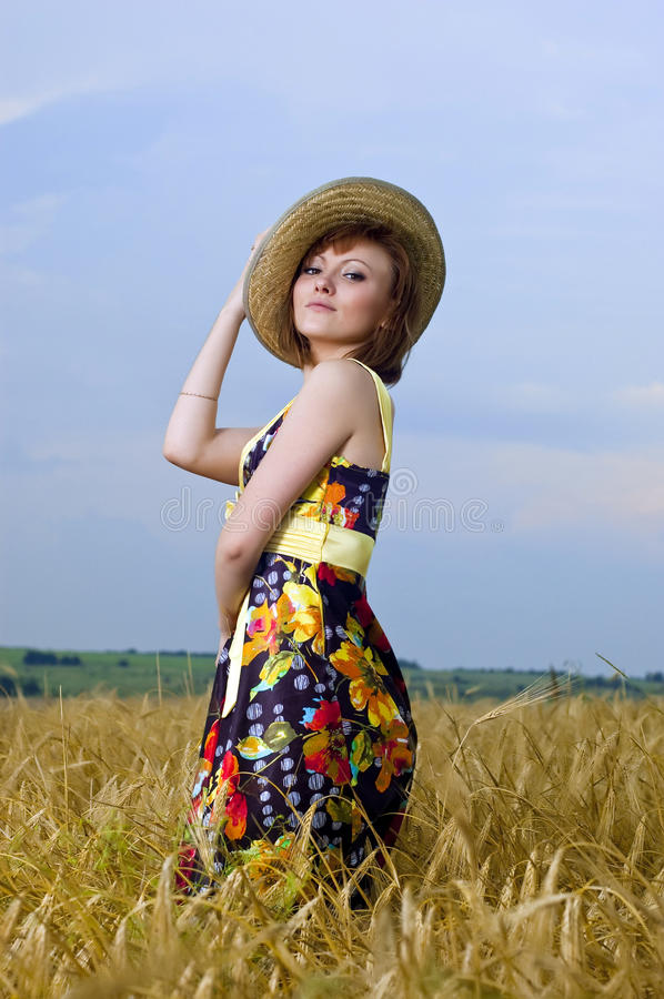 Beautiful Young Girl Is In The Field Of Wheat Royalty Free Stock Image