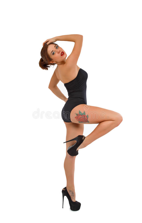 Beautiful young girl on fitness training royalty free stock photography