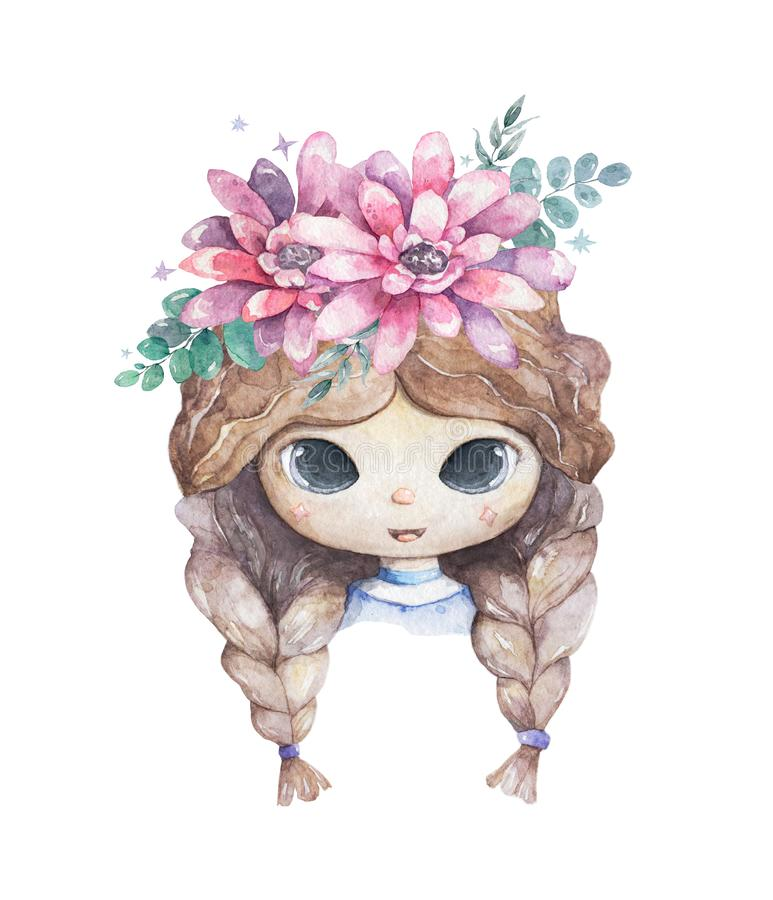 Beautiful young girl smiling with pink flowers on her head. cute watercolor cartoon colorful isolated illustration for baby shower stock illustration