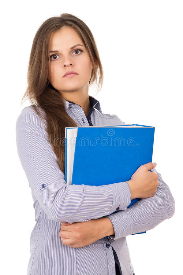 Beautiful young girl with a folder. Is royalty free stock photography
