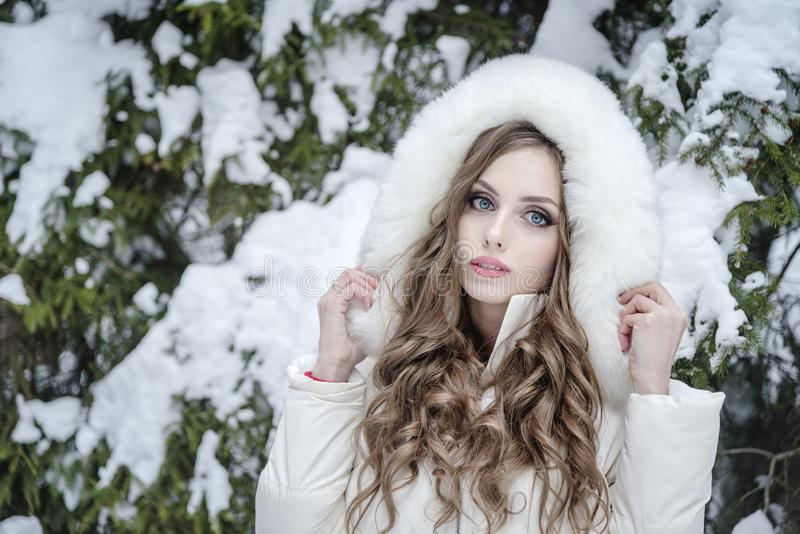 Beautiful young girl in a fur jacket in a snowy winter forest. royalty free stock photo