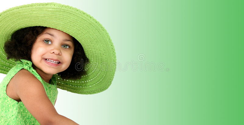 Download Beautiful Young Girl In Green Summer Hat Stock Image - Image of american, african: 164263