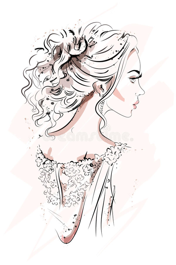 Beautiful young girl. Hand drawn portrait. Sketch. Fashion woman. Vector illustration vector illustration