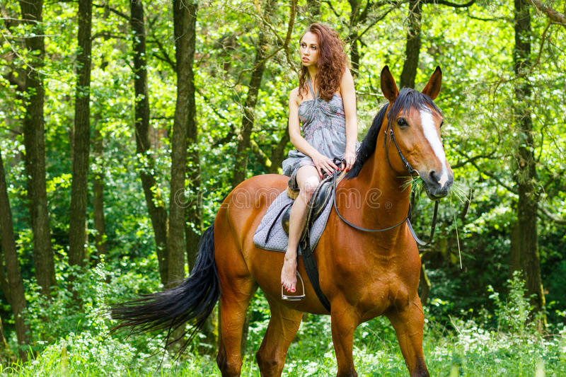 Beautiful young girl on horse stock photography
