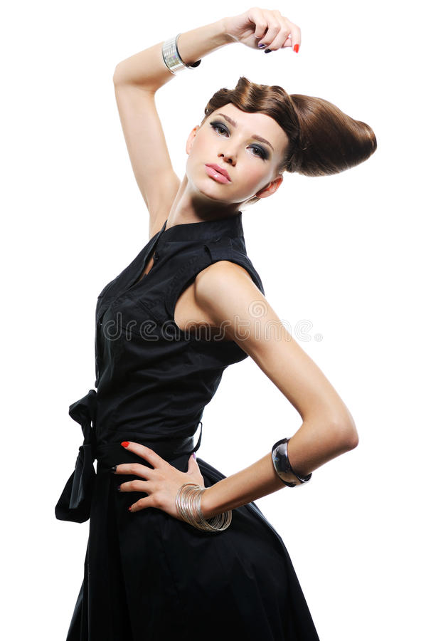Free Beautiful Young Girl In Black Dress Royalty Free Stock Images - 10863739