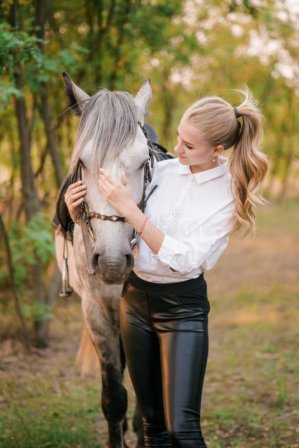 Beautiful young girl with light hair in uniform competition hugs her horse : outdoors portrait on sunny day on sunset. In autumn royalty free stock photo