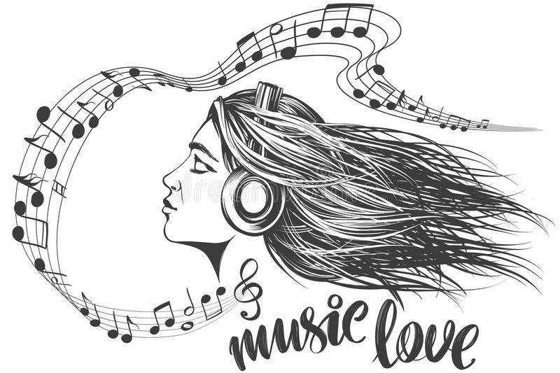Beautiful young girl listening to music on headphones, musical notes love music, calligraphy text hand drawn vector vector illustration