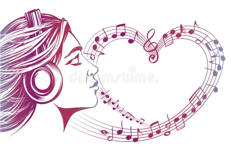 Beautiful young girl listening to music on headphones, musical notes love music, hand drawn vector illustration sketch royalty free illustration