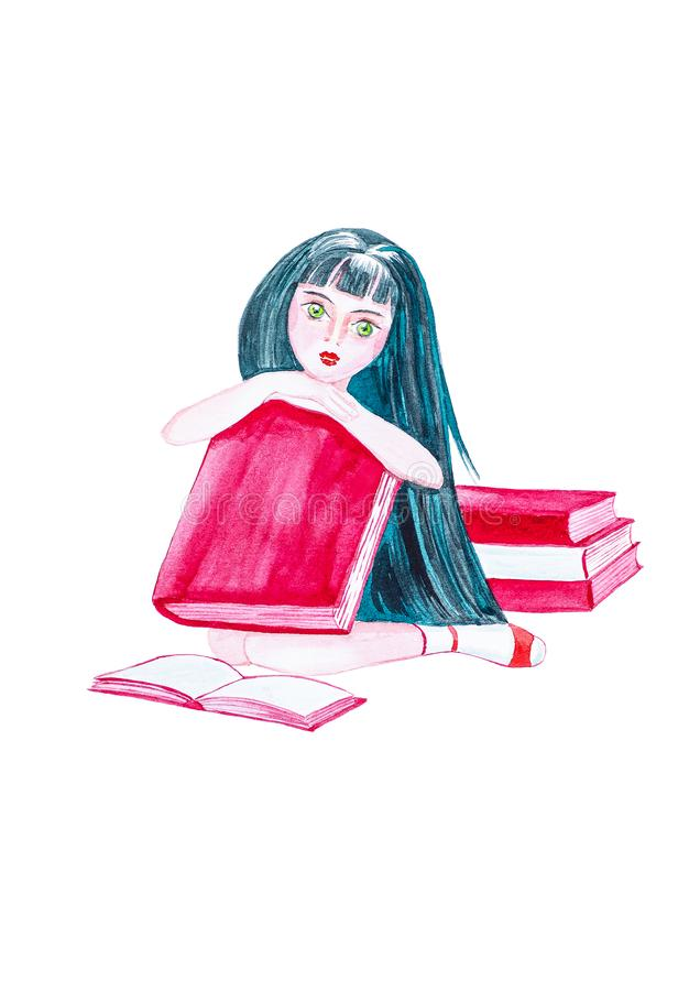 Beautiful young girl with long black hair sitting on the floor surrounded by books and holding a big book.Watercolor illustration stock illustration