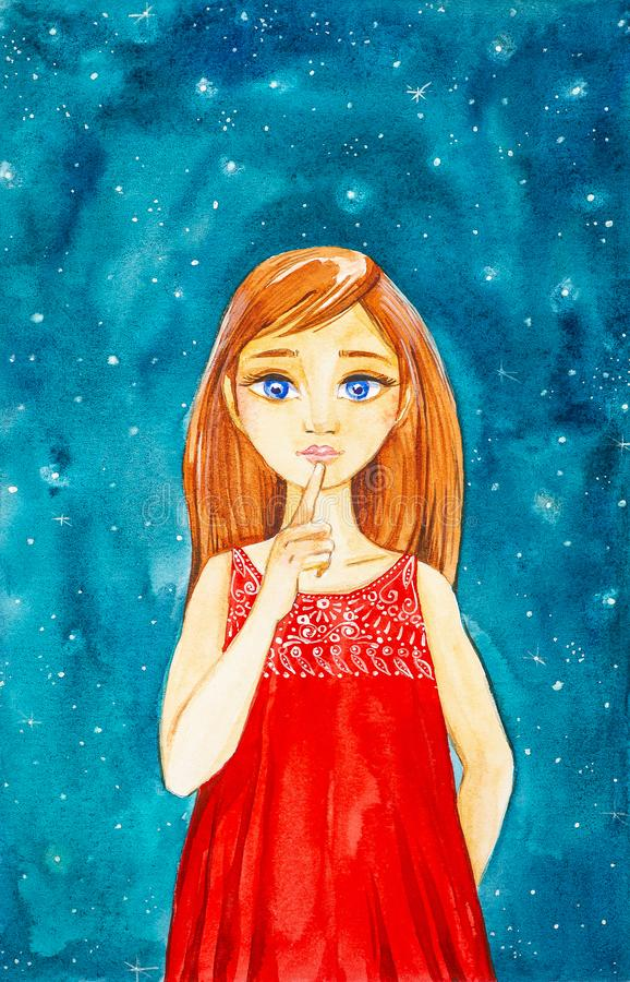 A beautiful young girl with long brown hair and blue eyes in a red dress against the night sky shows hush. Watercolor illustration royalty free stock photo
