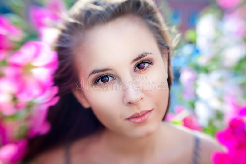 Beautiful young girl with long brown hair standing among the pin stock image