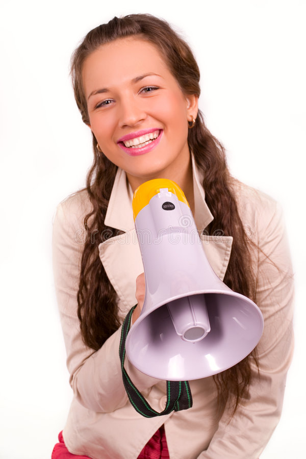 Download Beautiful Young Girl With Megaphone Over White Stock Image - Image: 4337459