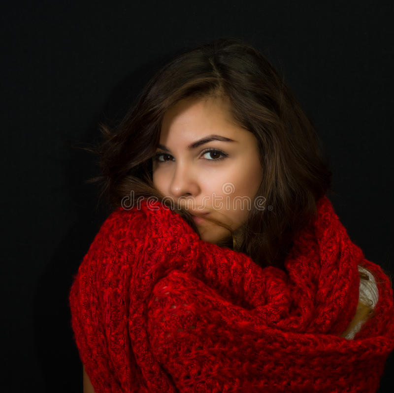 Beautiful young girl with mysterious look stock image