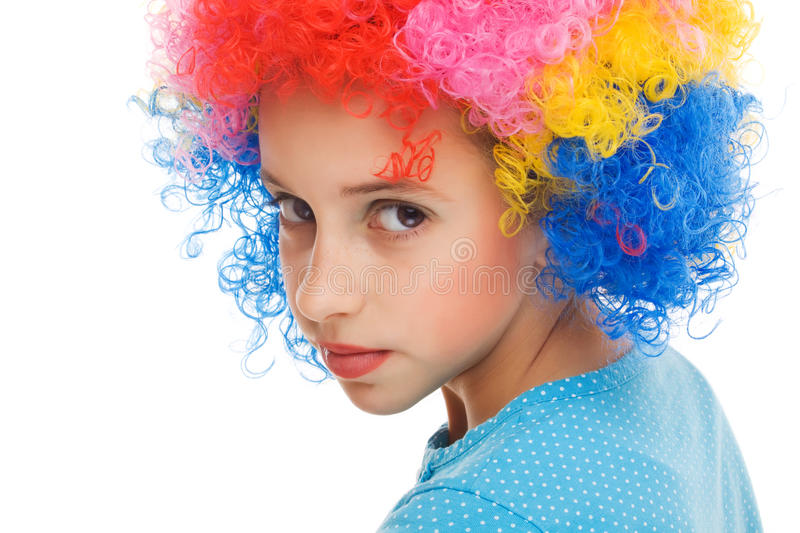Beautiful young girl with party wig royalty free stock photo