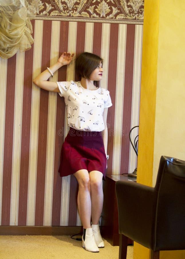 Beautiful young girl.Photo shoot.Photo Studio.2019. stock photo